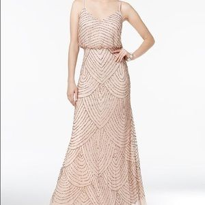 Adrianna Papell blouson gown -blush color
